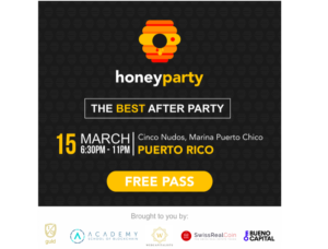 Cryptocurrency Honey Party in Marina Puerto Chico Thursday 15th March, Starting at 6:30 PM